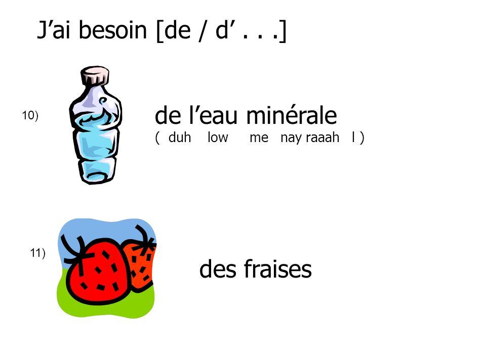 J'ai besoin [de / d' . . .] de l'eau minérale des fraises